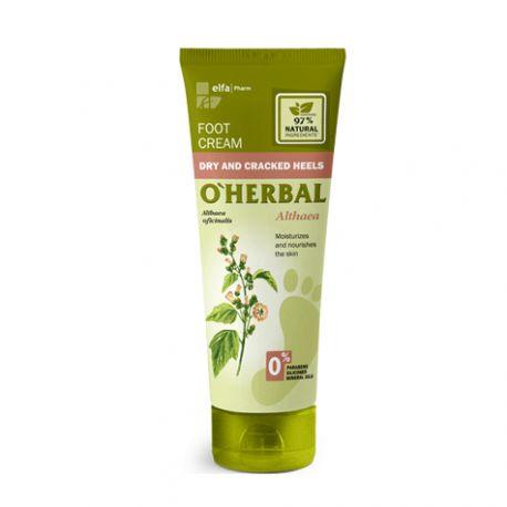 O'Herbal Crema para pies, talones secos y agrietados con extracto de althaea 75 ml.